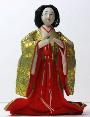Antique Japanese Taisho Period Hina Doll Court Musician Female 5 1/2 inch Tall