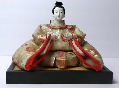 Antique Hina Ningyo Japanese Emperor Doll Sitting On A Wood Platform Stand
