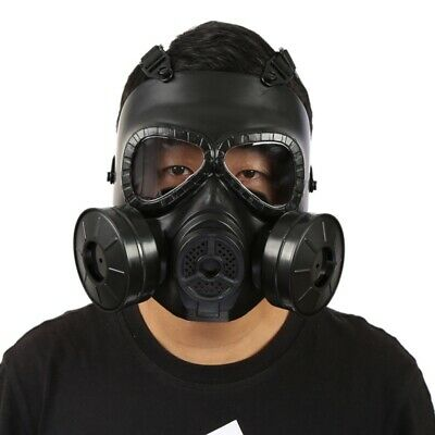 Full Face Double Filter Respirator Mask Air Breathing Airsoft Gas Protection US