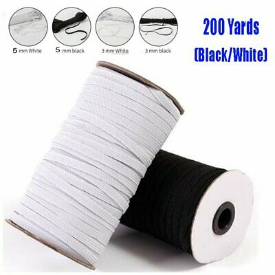 "200 Yards (180m) Length DIY Braided Elastic Band Cord Knit Sewing 1/8"" 1/5 """