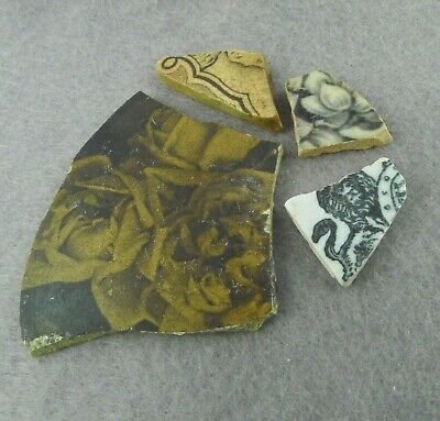 4 Pieces of Sea Pottery Shards Beach Found Brown Black Floral Trade Marks Crafts