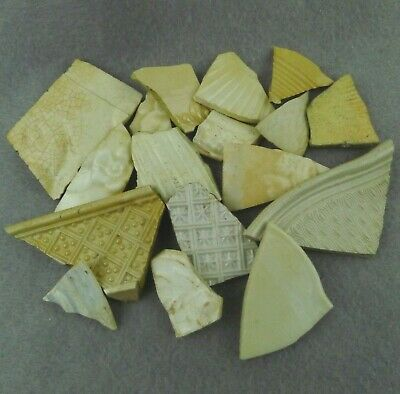 17 Pieces of Sea Pottery Shards Beach Found Cream Tan White Textured Crafts