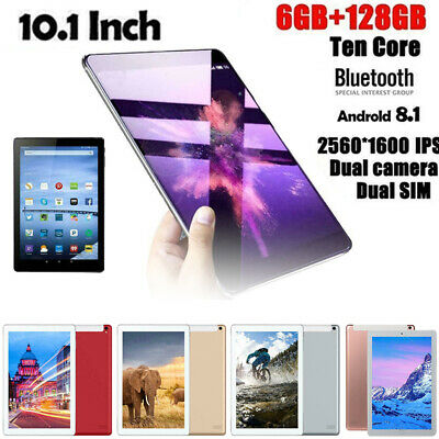 """10.1"""" Tablet PC SIM Cam WIFI Android 8.1 HD Touch Screen 6G 128GB K"""