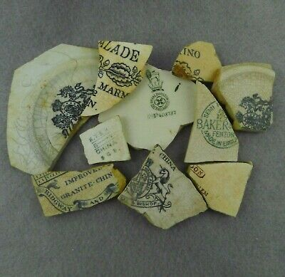 10 Pieces of Sea Pottery Shards Beach Found Partial Maker's Marks Words Crafts