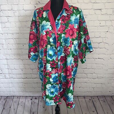 VTG Victoria Secret Gold Label Kimono Floral Robe Button M/L Satin Sheer