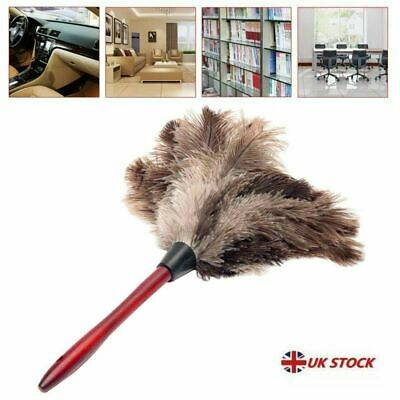 Anti-static Ostrich Feather Fur Brush Duster Dust Cleaning Tool Wooden Handle %