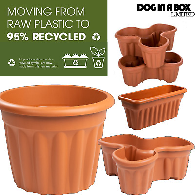 Brown Plastic Plant Pot Flower Pots Terracotta Colour Vista 20 32 42 60 80 Litre