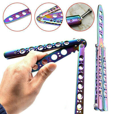 Cool Sheath Metal Dull Blade Practice Trainer Tool Butterfly Knife Multicolor