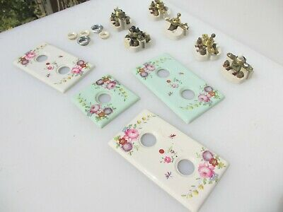 Vintage Ceramic Light Switch Board Deco Old Toggle Dolly Switches Brass Retro