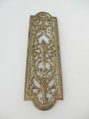 Vintage Brass Pierced Finger Plate Push Door Handle Husks Urn Leaf Floral Flower