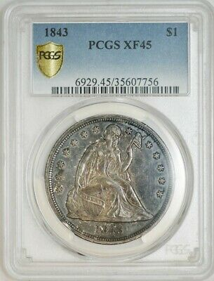 1843 Seated Liberty Dollar $ XF45 Secure Plus PCGS 942822-12