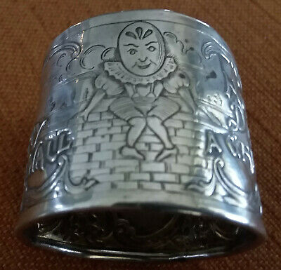 Rare Nursery Rhyme Napkin Ring...Humpty Dumpty in Sterling...Antique C.1900