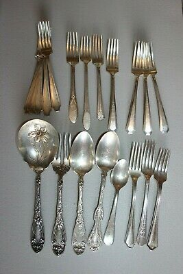 Mixed Lot-63 Pieces Plated Flatware~Crafts~Art Jewelry~Repurposing~Resale