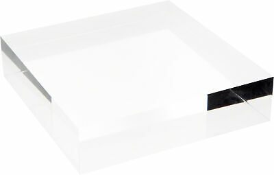 """Plymor Clear Polished Acrylic Square Display Block, 2"""" H x 8"""" W x 8"""" D"""