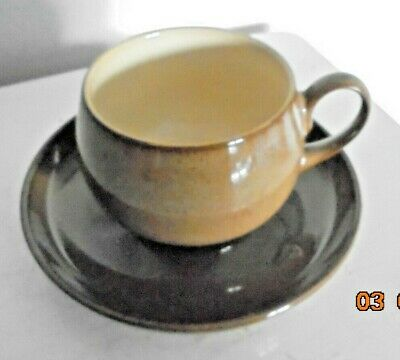 Vintage DENBY Stoneware Camelot brown Tea/Coffee Cup + Saucer (OTHERS AVAILABLE)