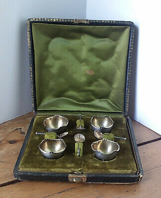 Antique French Open Salts...Sterling Silver 4pc Set...Orig. Box & Spoons