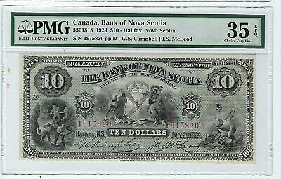 BANK OF NOVA SCOTIA $10 1924  - PMG 35 EPQ  Beautiful Note in the top 4 listed