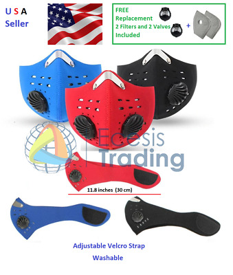 Neoprene Face Mask with Velcro Plus 2 Carbon Filters and 2 Valves USA Seller