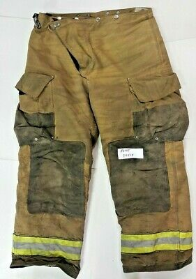 Globe 34x29 Brown Firefighter Turnout Bunker Pants Yellow Reflective Tape P0145
