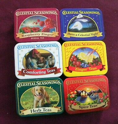 Celestial Seasonings lot of 6 mini tea tins