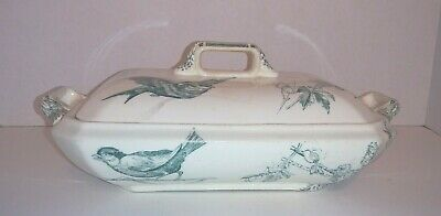 Set 2 Early Wedgewood Green Transfer Covered Dishes Aesthetic Birds Flowers