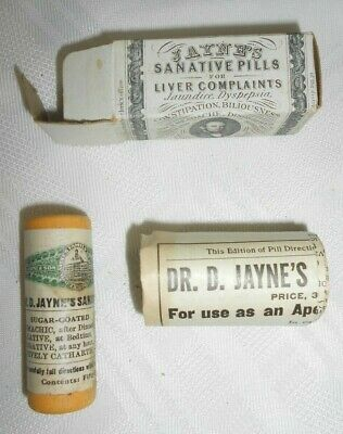 Vtg Jayne's Sanative Pills w/box paperwork Pharmacy Apothecary sealed NOS