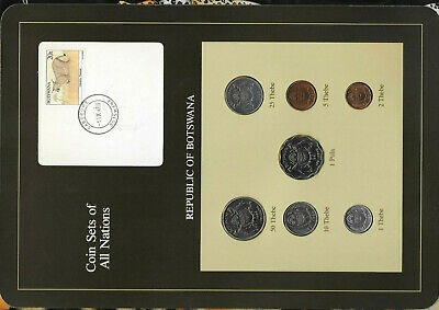 Coin Sets of All Nations Botswana 1981 & 1984 UNC Caracal Stamp-11X88