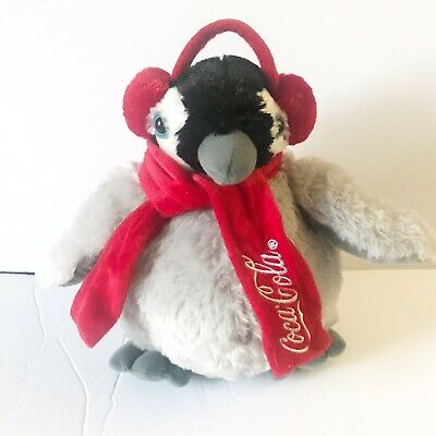 Coca-Cola Grey Penguin Plush With Scarf And Earmuffs