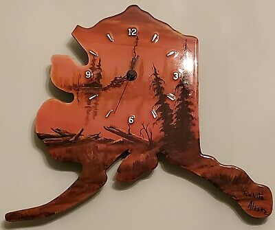 Vintage Alaska Clock Travel Souvenir Wood Folk Art By Ranita Beautiful