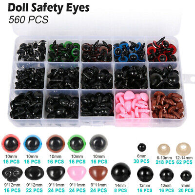 560pcs Plastic Colorful Safety Eyes Noses w/ Box For Bear Doll Craft DIY Making