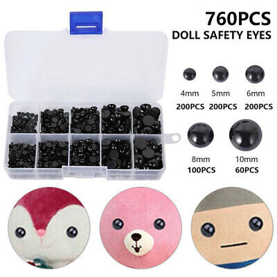 760pcs Black Safety Eyes Noses For DIY Bear Soft Toys Animal Dolls Making Tool