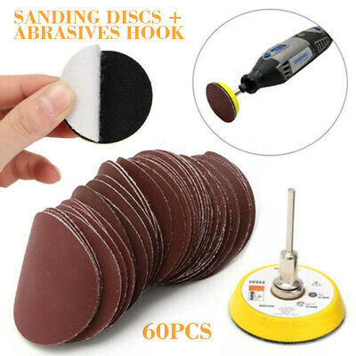 60pcs 100-2000 Mixed Grit 50mm Sanding Discs With Backing Pad w/ Drill Adaptor