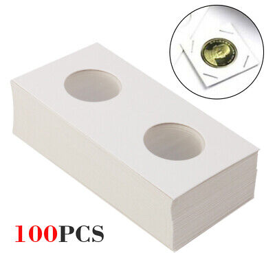 100X Cardboard Coin Holder Securing Clips Protective Paper Flips Display Storage