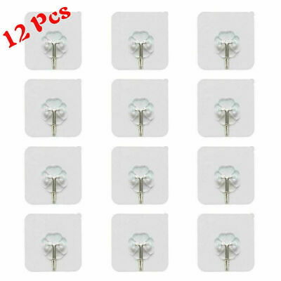 12Pcs Wall Sticky Hooks Adhesive Hanger Holder Clothes Kitchen Non-trace Set New