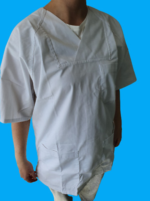 5 PACK - Unisex White Medical Hospital Uniform Tops / Trousers (FREE DELIVERY)