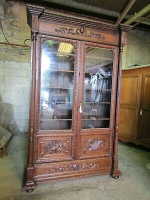 Huge beautifully carved oak French glazed library bookcase C 1900,Flat pack