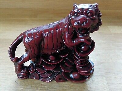 Vintage Chinese Red Resin Tiger figurine