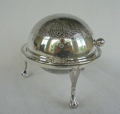 Vintage Sliding Domed Serving Cloche Butter Dish Silver Plated With Glass Liner