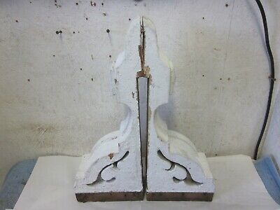 Two Antique Matching Victorian Detailed Wood House Bracket Corbels Salvaged