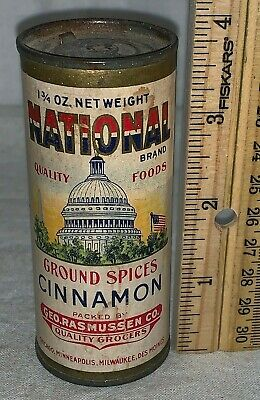 Antique National Cinnamon Spice Tin Vintage Patriotic Capitol Flag Can Grocery