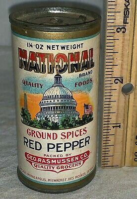 Antique National Red Pepper Spice Tin Vintage Patriotic Capitol Flag Can Grocery