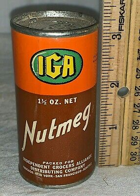 Antique Iga Nutmeg Spice Tin Vintage Grocery Store Can Country General Old