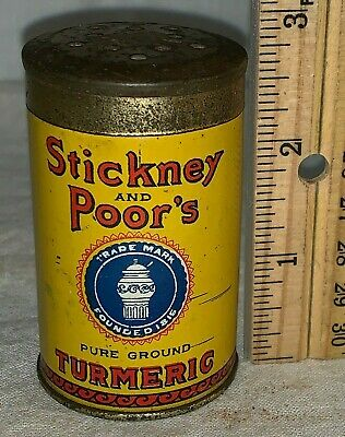 Antique Stickney & Poor's Tin Litho Turmeric Spice Can Boston Ma Grocery Store