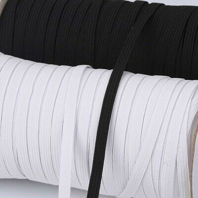 Elastic 8 Cord 6 mm Wide Flat Quality Face Mask Black White Many Lengths