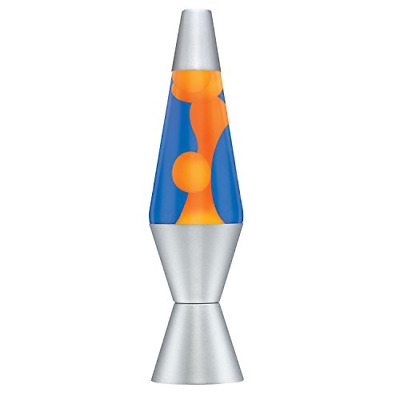Lava The Original 2117 14.5-Inch Silver Base Lamp with Orange Wax in Blue Liquid