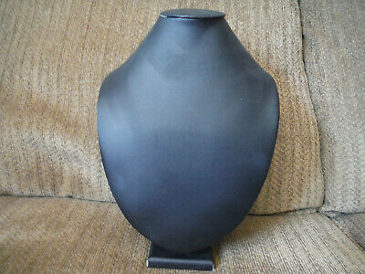 """Necklace Mannequin Display Stand Bust Black Faux Leather/Vinyl 12"""" Tall"""