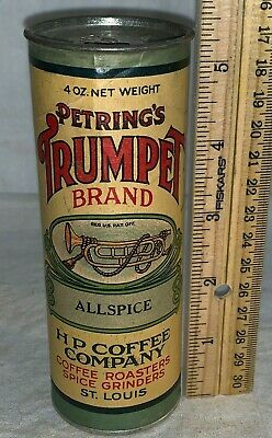 Antique Petring's Trumpet Allspice Spice Tin Hp Coffee St Louis Mo Grocery Can