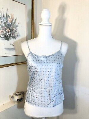 Victorias Secret Womens Silk Cami Pajama Top Blue Polka Dot Size Small
