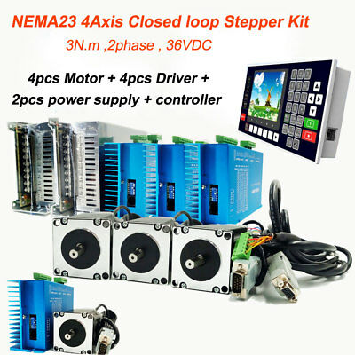 3Nm Closed Loop 4Axis Stepper Motor Nema23 Servo Driver&Power Supply&Controller