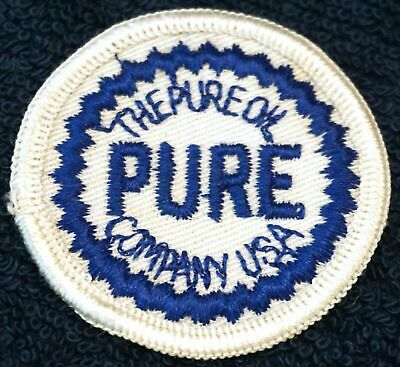 Vintage Pure Oil Company Souvenir Patch Blue White Round